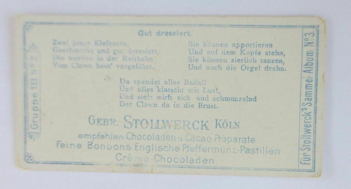 Stollwerck, Clown, Gut dressiert, Gruppe 133, Nr.2, Album. Nr.3  ♥ 1