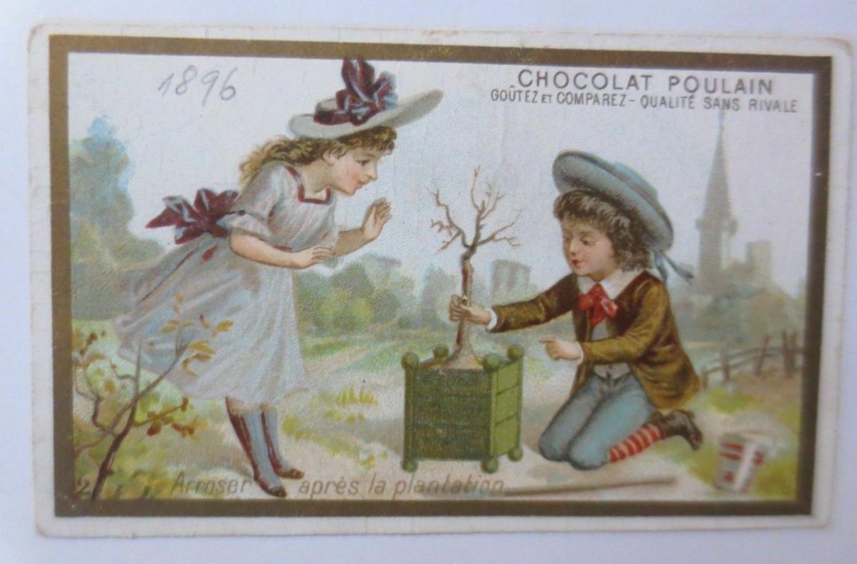 Kaufmannsbilder, Chocolat Poulain, Kinder aus dem Jahr 1896 ♥ 0
