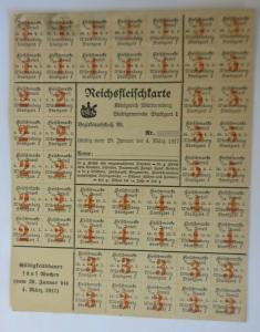 Lebensmittelkarten, Stadt Stuttgart Fleisch, 1920 ♥ (X174)