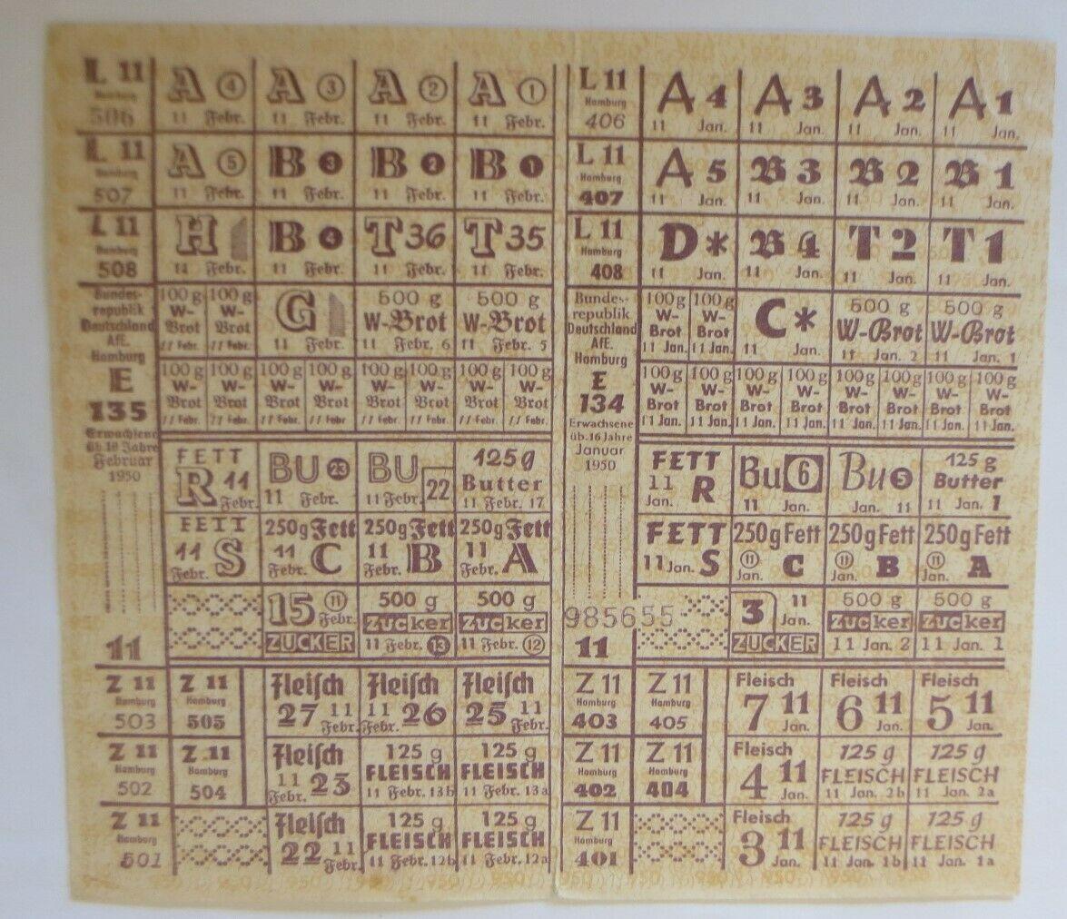 Lebensmittelkarten, Stadt Stuttgart  Brot, Fleisch, Butter, Fett, 1920 ♥ (X173) 0