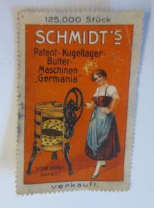 Vignetten Schmidt´s Patent-Kugellager-Butter Maschine Germania  1900 ♥ (13126)