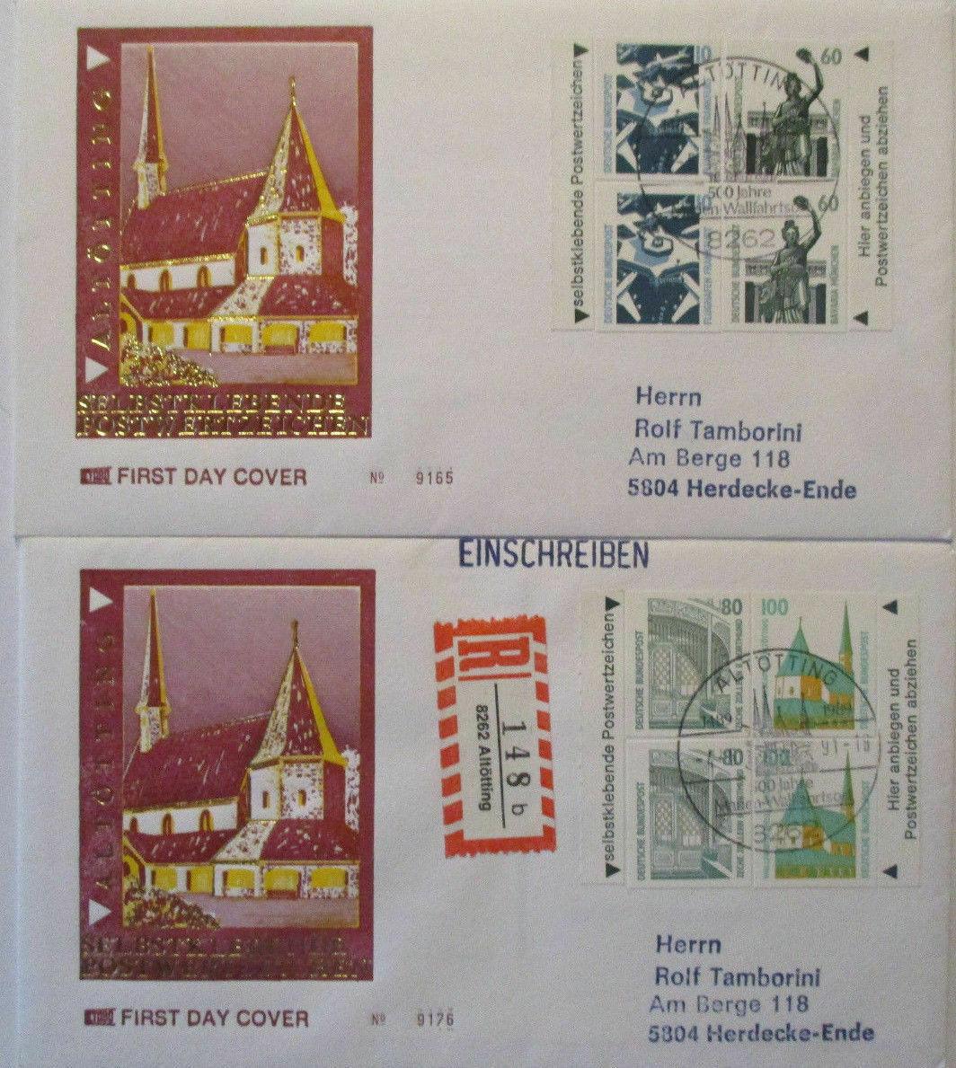 Deutschland Sehenswürdigkeiten Heftchenmarken MH 27 FDC 1991 (486) 0