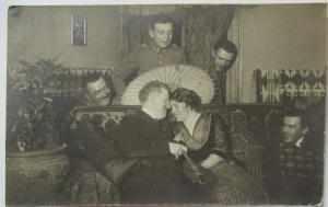 Straßburg im Elsaß, Soldaten Fächer, Mann und Frau, Fotokarte 1915 (58746)