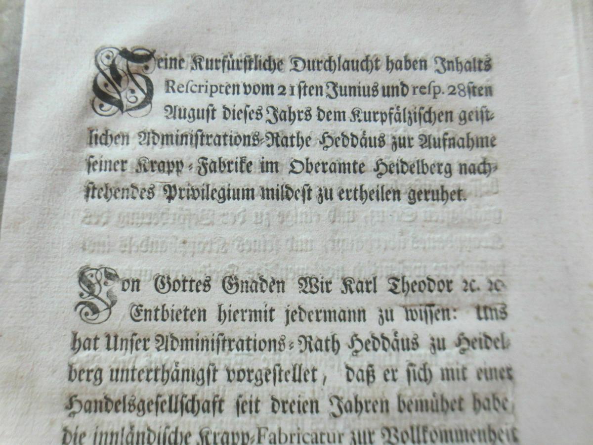 Kurpfalz Regierung Carl Philipp Freiherr von Venningen...Original 1778 1
