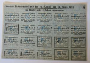 Lebensmittelkarten, Stadt Stuttgart  Brot, Mehl, 1920 ♥ (X171)