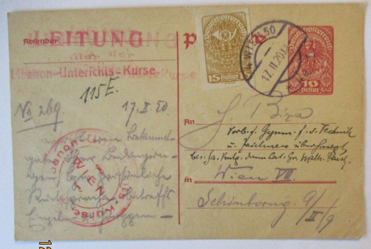 Österreich Wien, Libanon Unterrichts Kurse, Sprache, Ganzsache 1920 (51668) 0