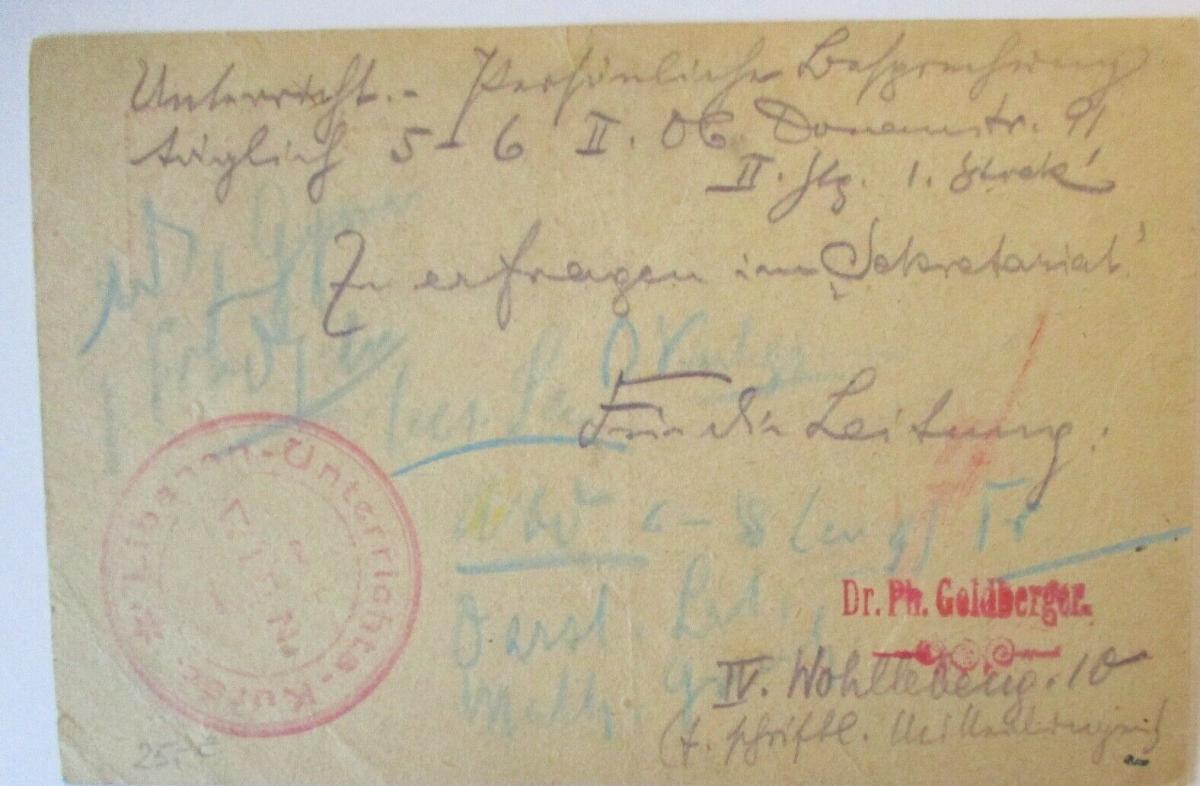 Österreich Wien, Libanon Unterrichts Kurse, Sprache, Ganzsache 1920 (51668) 1