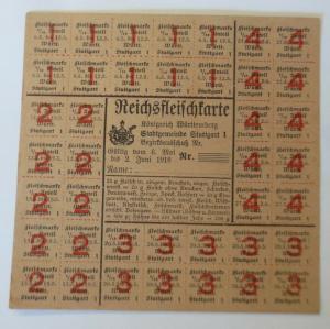 Lebensmittelkarten, Stadt Stuttgart Fleisch Marken, Mai 1918 ♥ (X168)