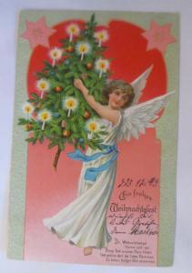 Weihnachten, Engel, Weihnachtsbaum, Kerzen,1905, Prägekarte ♥ (15341)