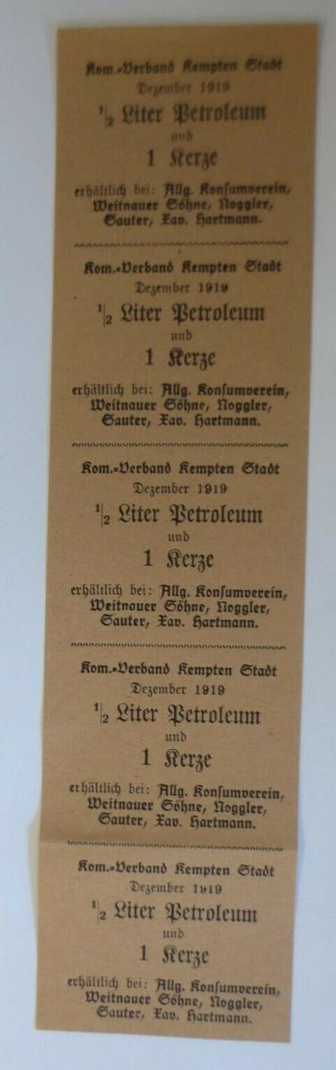 Lebensmittelkarten, Stadt Kempten Petroleum, Kerzen,  1919 ♥(X167) 0