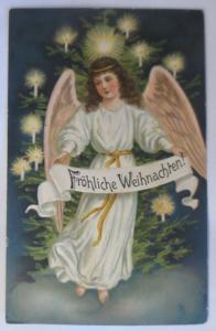 Weihnachten, Engel, Weihnachtsbaum, Kerzen,1907, Prägekarte ♥ (9539)