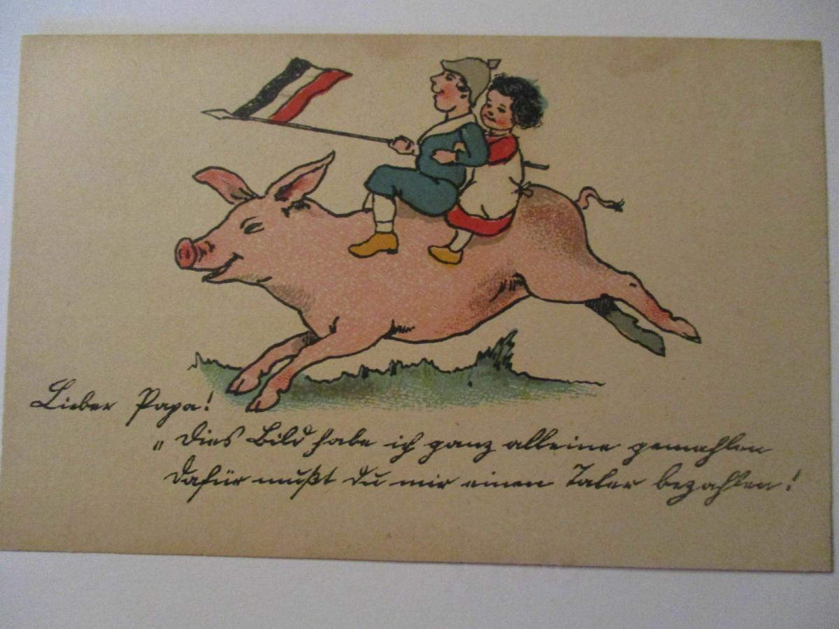 WW 1, Kinder, Schwein Fahne, Lieber Papa,  Österreich ♥  (36262) 0