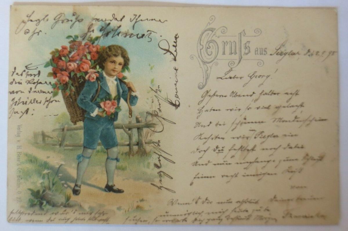 Gruß aus Sieglar, Kinder, Mode,  1898, Verlag H. Beer & Co. Berlin  ♥ (54810) 0