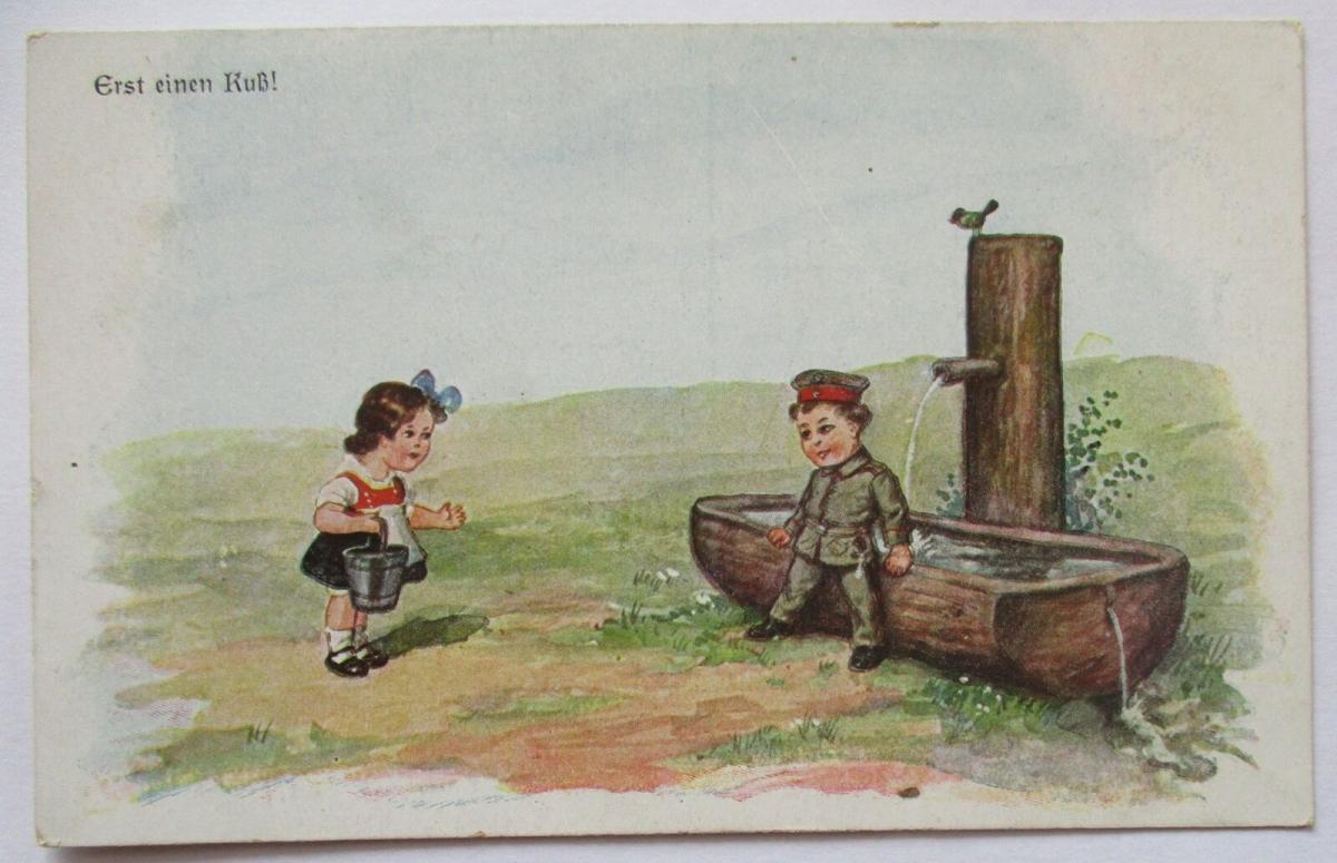 Kinder WW 1, Erst ein Kuß, Feldpost 1918 nach Emden (40704) 0