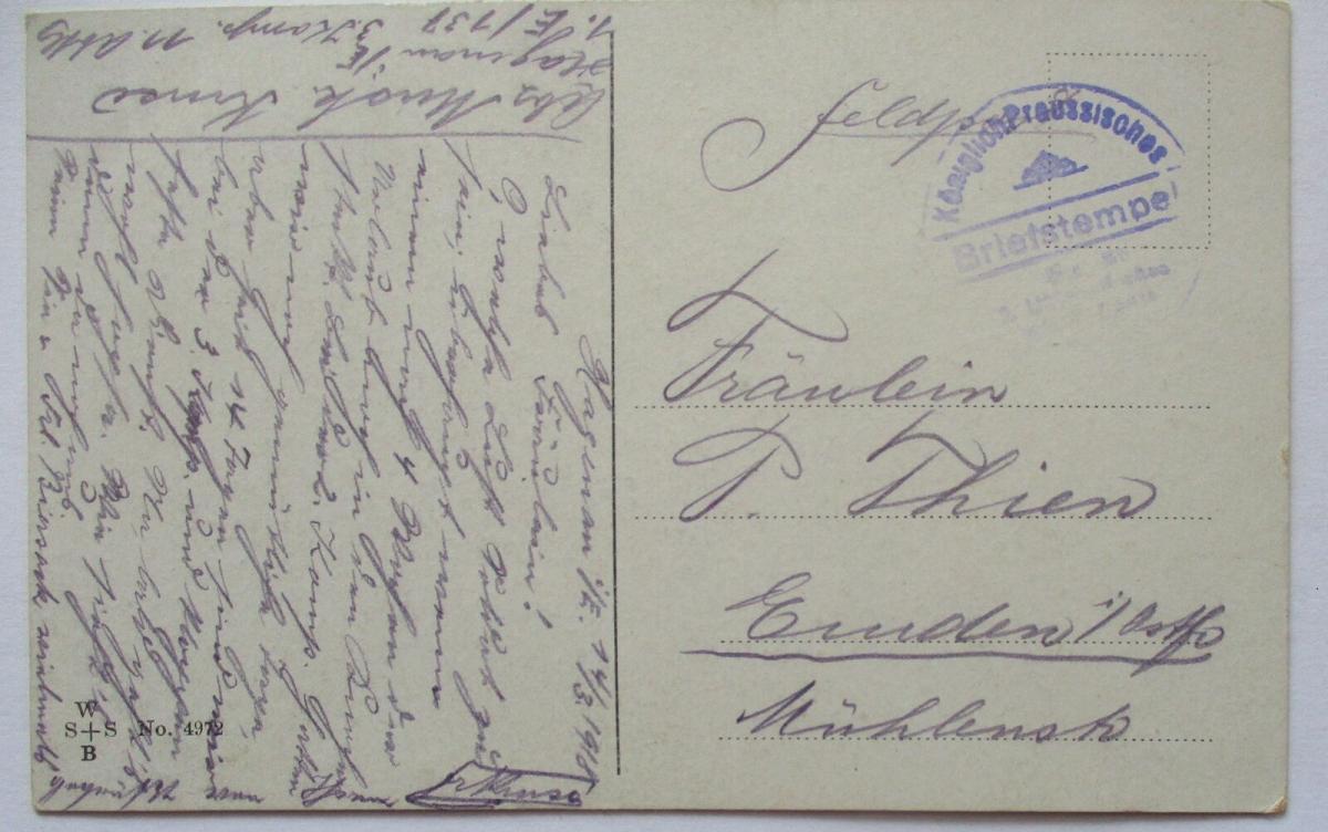 Kinder WW 1, Erst ein Kuß, Feldpost 1918 nach Emden (40704) 1