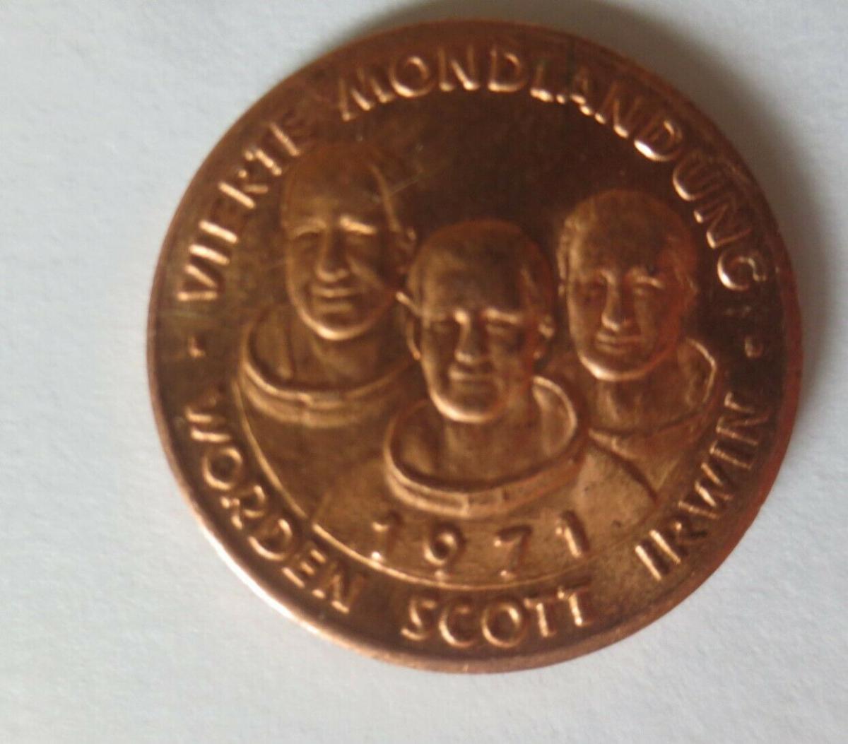 Medaille 1971 Deutschland Apollo 15 - Raumfahrt - Scott - Worden - Irwin ♥(6833) 0