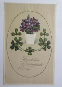 Geburtstag, Blumen, Kleeblatt,   1910, Prägekarte ♥  (69628)