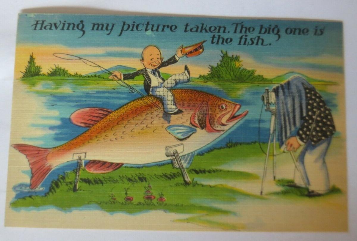Scherzkarten, Männer, Foto, Fisch, Fotoapparat,1920 ♥ .(5585) 0