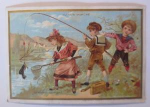 Kaufmannsbilder, Au Bon Marche, Kinder, Angeln,  1910 ♥ (63240)