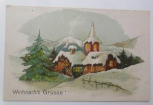 Weihnachten, Kirche, Winterlandschaft, 1907, Prägekarte ♥ (69624)