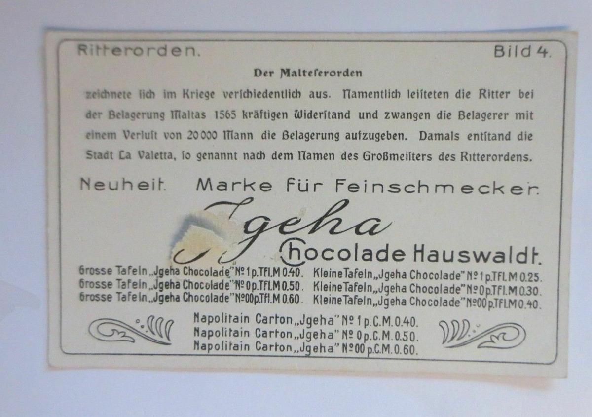 Kaufmannsbilder, Igeha Schokolade Hauswaldt, Ritterorden, Bild 4 ♥ 1