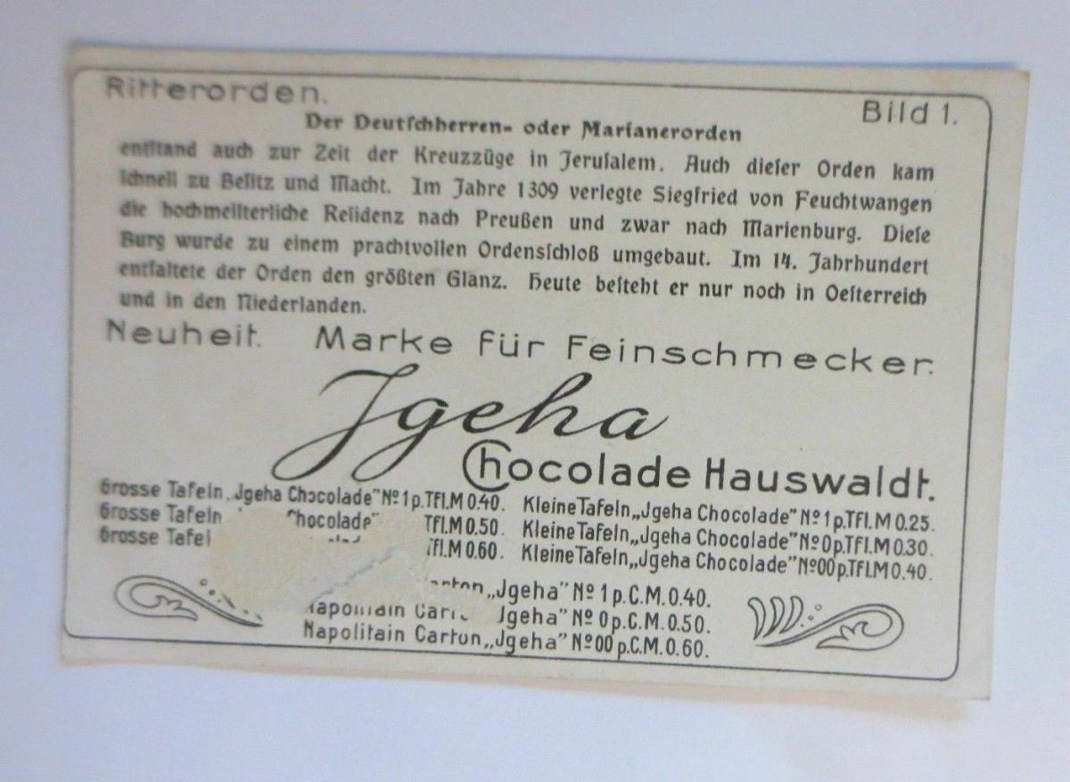 Kaufmannsbilder, Igeha Schokolade Hauswaldt, Ritterorden, Bild 1 ♥ 1