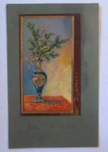 Weihnachten, Jugendstil Vase, Weihnachtsstrauß,   1906, Prägekarte ♥ (67158)