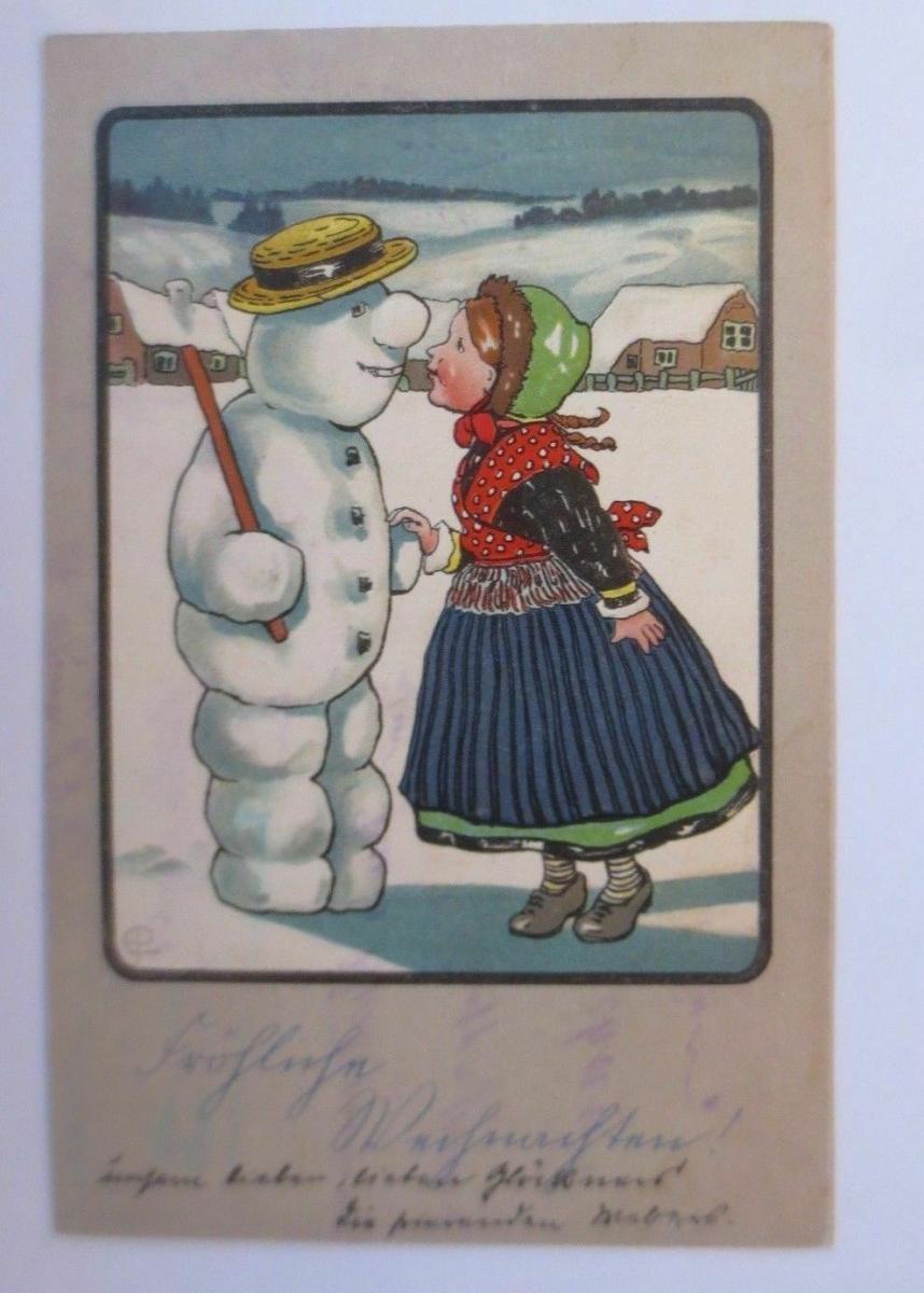 Weihnachten, Kinder, Schneemann,   1907, sig. EP.   Prägekarte  ♥ (67155) 0