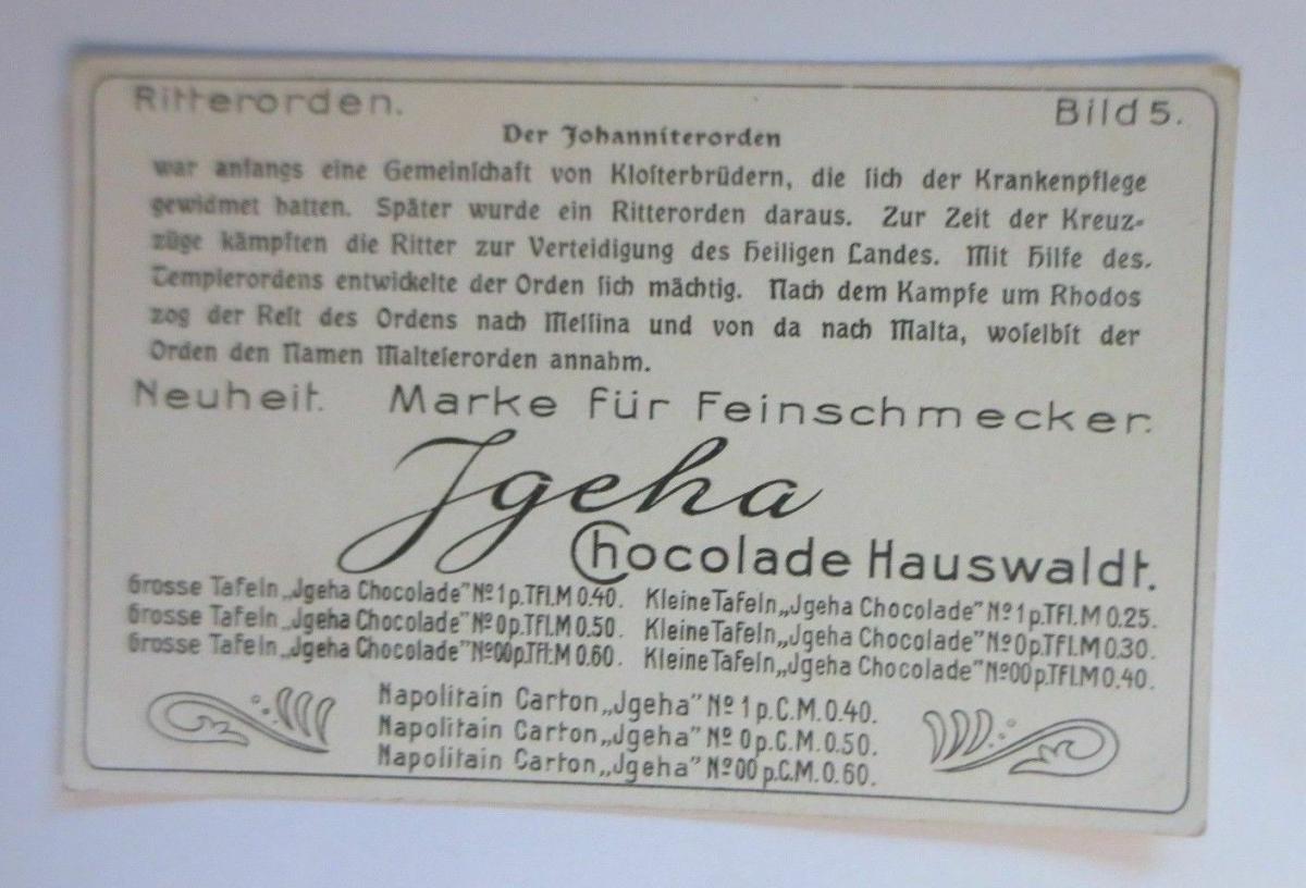Kaufmannsbilder, Igeha Schokolade Hauswaldt, Ritterorden, Bild 5 ♥ 1