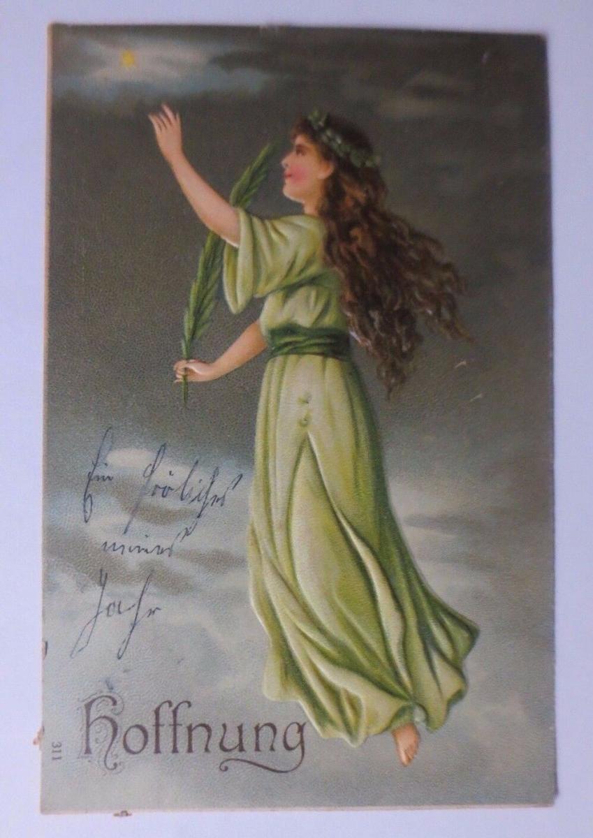 Religion, Frauen, Liebe, Glaube, Hoffnung,    1907, Prägekarte ♥ (54783) 0