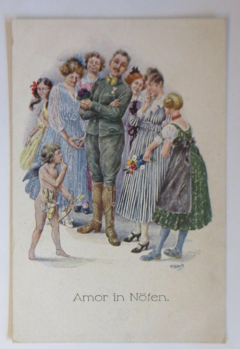 Künstlerkarte, Engel,  Amor in Nöten,    1920, T. Hübsch  ♥ (69414) 0