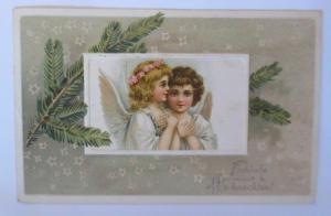 Weihnachten, Engel, Tannenzweig, Sterne,    1920, Prägekarte  ♥ (67154)