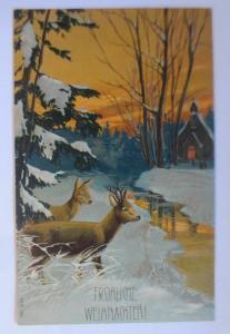 Weihnachten, Tannen, Rehe, Kirche, Abendrot,   1907, Prägekarte ♥ (67152)