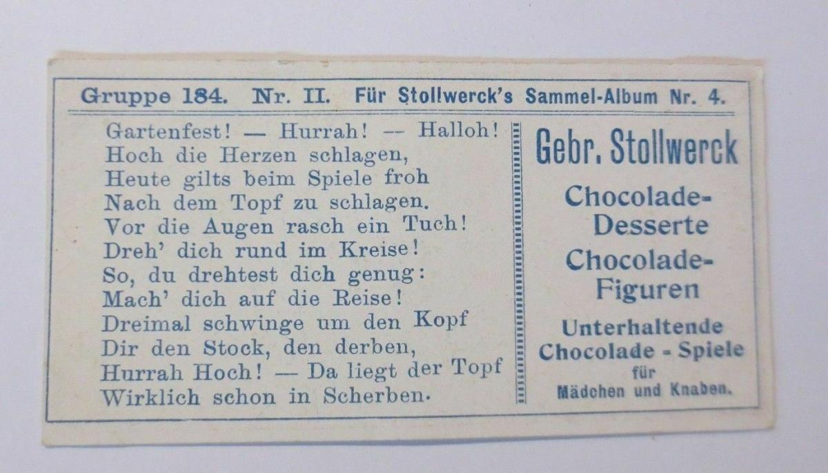 Stollwerck, Gruppe 184, Nr.2, Album ,Nr.4,  Kinderfeste ♥ 1