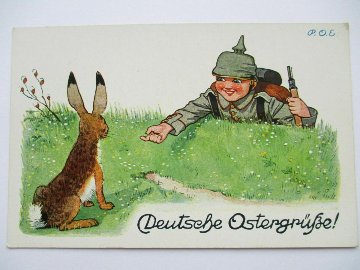 WW 1, Kinder, Soldat und Osterhase, Deutsche Ostergrüße, 1915, P.O.G. ♥  (35004) 0