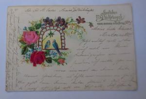 Blumen, Stoffrosen, Vogel, 1903, Prägekarte  ♥ (22357)