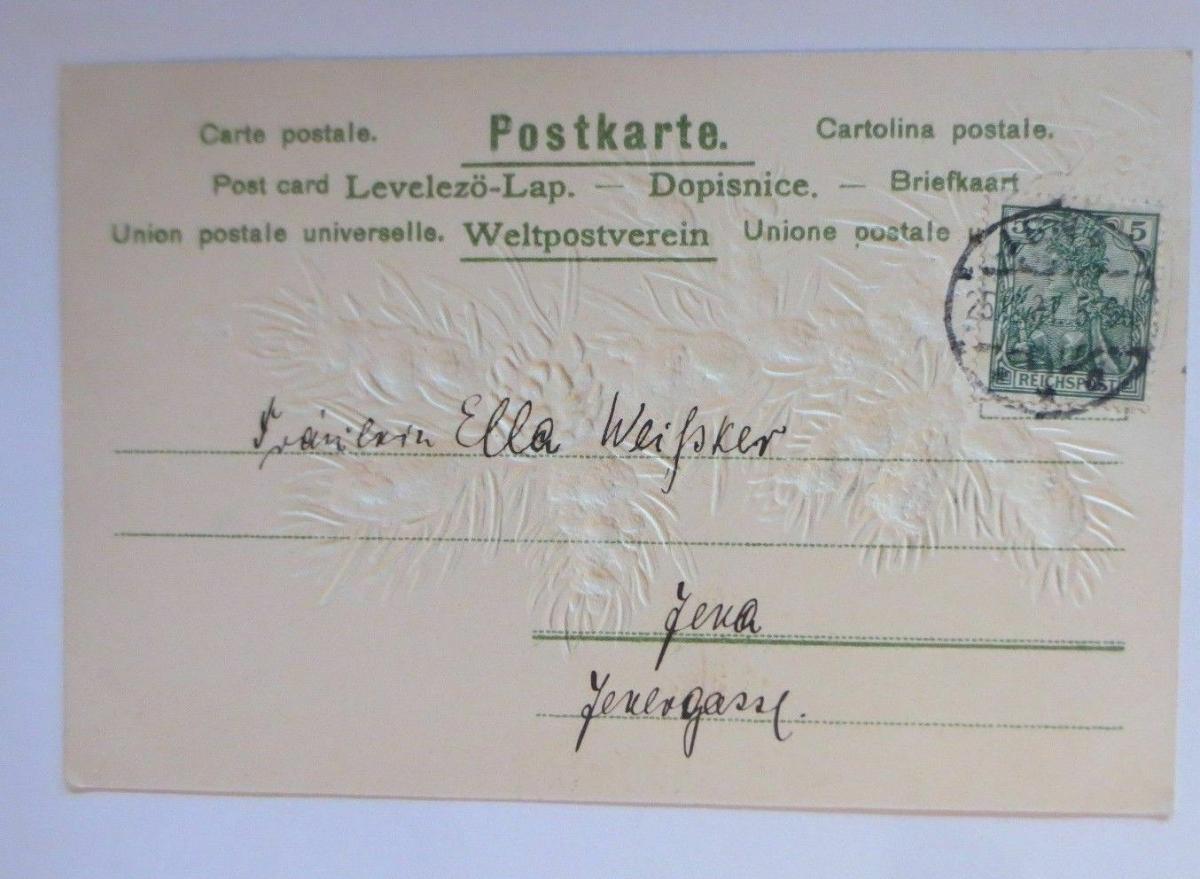 Weihnachten, Tannenzweig, Tannenzapfen, Schnee,  1901, Prägekarte ♥ (67151) 1