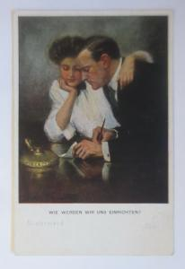 Künstlerkarte, Wie werden wir uns einrichten,  1918, Munk Vienne ♥ (20566)