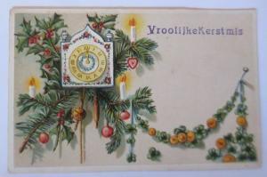 Weihnachten, Uhr, Tannenzweige, Kerzen, Disteln, 1908, Prägekarte ♥ (67150)