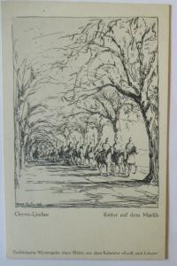 Patriotik Künstlerkarte Reiter auf dem Marsch, sign. Greve-Lindau (57394)