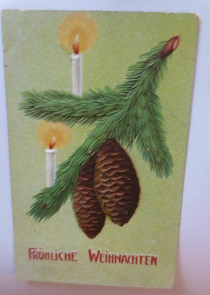 Weihnachten, Tannenzapfen, Zweig,Kerzen,  1917, Prägekarte ♥ (67145) 0