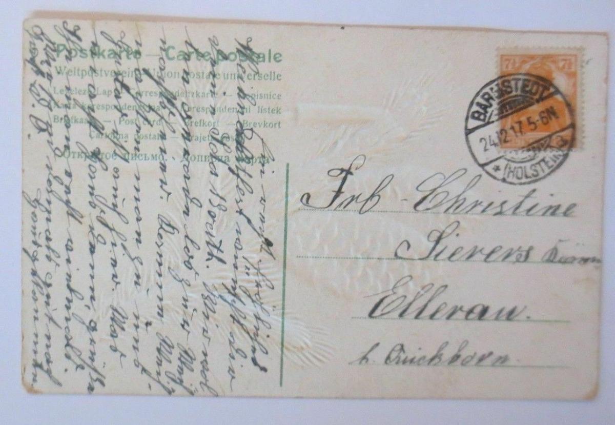 Weihnachten, Tannenzapfen, Zweig,Kerzen,  1917, Prägekarte ♥ (67145) 1