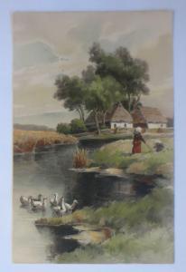 Künstlerkarte, Landschaft, Fluss, Enten, 1900, Meissner & Buch  ♥ (22293)