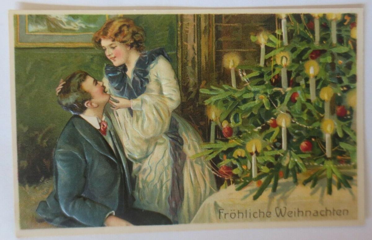 Weihnachten, Männer, Frauen, Bescherung, 1908, Prägekarte ♥ (38598) 0