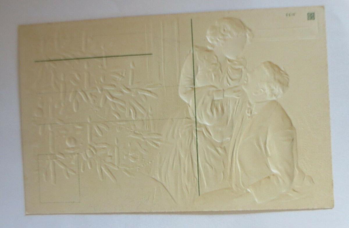 Weihnachten, Männer, Frauen, Bescherung, 1908, Prägekarte ♥ (38598) 1