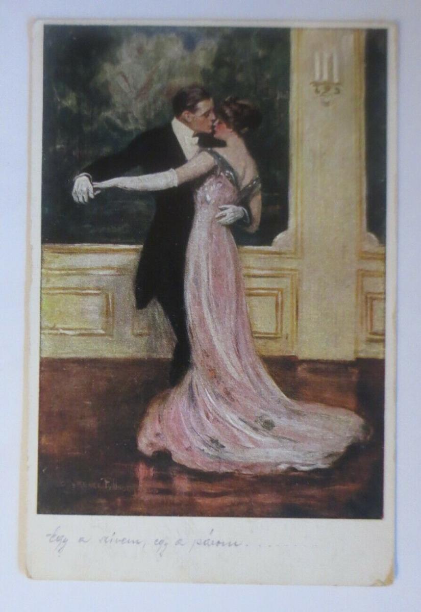 Künstlerkarte, Männer, Frauen, Tanzen, Ball, 1917, Munk Vienne  ♥ (23852) 0
