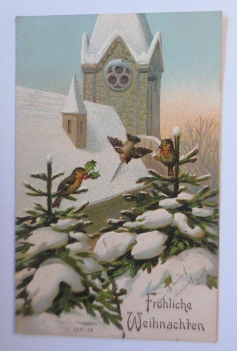 Weihnachten, Kirche, Tannen, Vogel, Winter,     1908, Prägekarte  ♥  (67140) 0