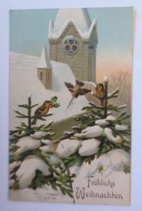 Weihnachten, Kirche, Tannen, Vogel, Winter,     1908, Prägekarte  ♥  (67140)