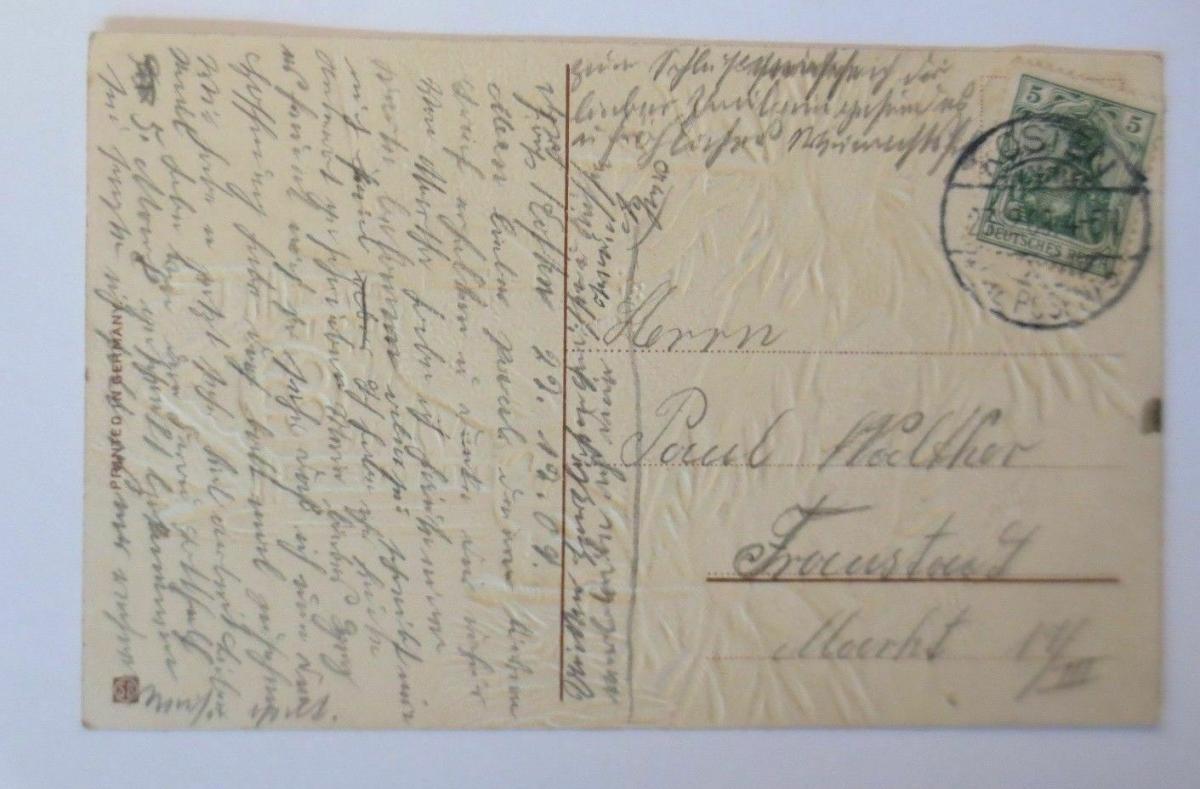 Weihnachten, Kirche, Tannen, Vogel, Winter,     1908, Prägekarte  ♥  (67140) 1