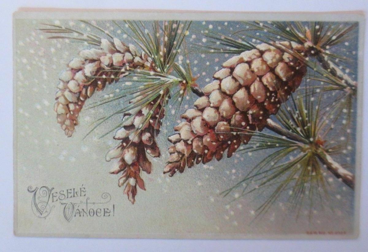 Weihnachten, Tannenzapfen, Kiefern,    1907, Prägekarte  ♥  (67139) 0